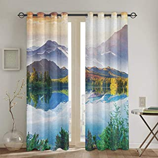 Nature Kids Curtain for Living Room 2 Panels Winter Scenery in The Mountains Greenery ICY Lake Idyllic Early Morning Sunrise View W52 X L108 Inch Multicolor
