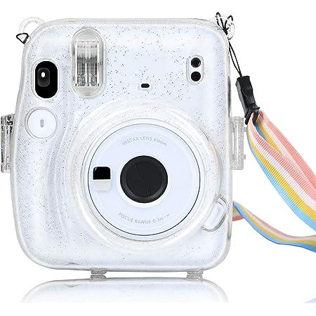 Funda Protectora para cámara instantánea Fuji Instax Mini 11, de PC, rígida, con Correa extraíble y Color Transparente (Transparente)