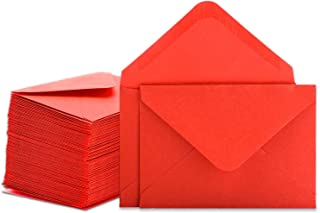 Gift Card Envelopes - 100-Count Mini Envelopes, Kraft Paper Business Card Envelopes, Bulk Tiny Envelope Pockets for Small Note Cards, Red 4 x 2.7 Inches