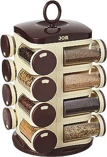 Home Stuff Joie Revolving Plastic Spice Rack 16 in 1 Jar | Multipurpose Uses Storage Set Condiment Masala Rack Set | 16 Pi...