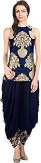 Pop Mantra Women's Art Silk Anarkali Salwar Suit Set (70838_Blue_XXX-Large)