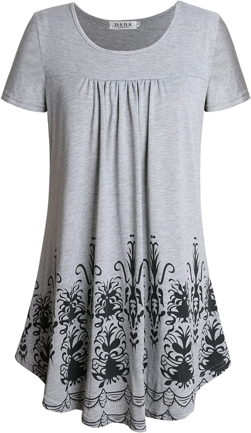 DSUK Women's Round Neck Short Sleeve Casual Floral Pleated Loose Fit Tunic Tops