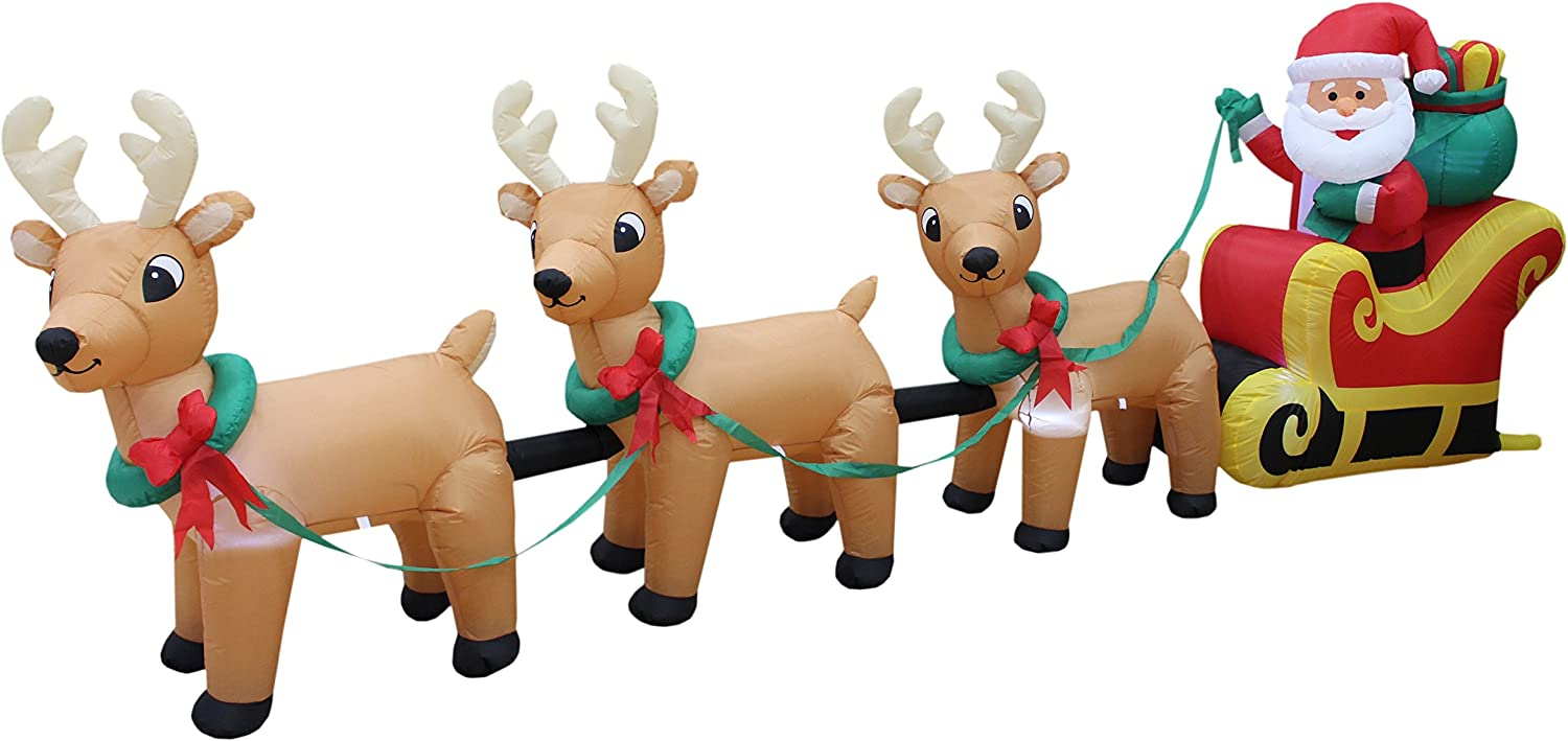 Sales 12 Foot Long Colorado Springs Mall Lighted Christmas Inflatable on Sleigh Santa Claus
