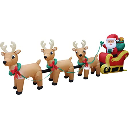12 Foot Long Lighted Christmas Inflatable Santa Claus on Sleigh with 3 Reindeer & Christmas Tree Lights Decor Outdoor Indoor Holiday Decorations Blow up Lawn Inflatables Home Family Outside Decor