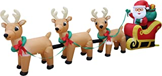 12 Foot Long Lighted Christmas Inflatable Santa Claus on Sleigh with 3 Reindeer and Christmas Tree Yard Decoration
