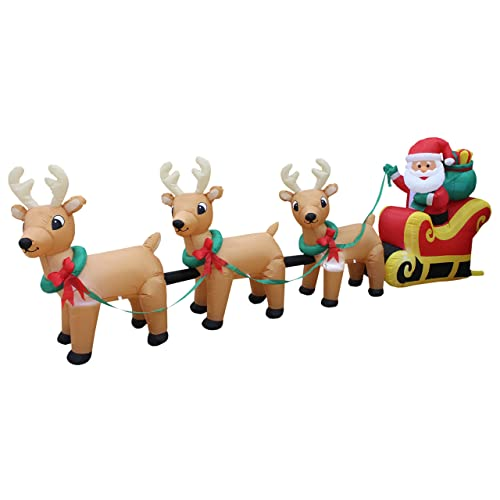 12 Foot Long Lighted Christmas Inflatable Santa Claus on Sleigh with 3  Reindeer and Christmas Tree - Santa And Reindeer Outdoor Decorations: Amazon.com