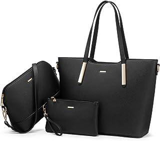 LOVEVOOK Handtasche Damen Shopper Schultertasche Damen Groß Damen Tasche Gross Leder Handtaschen 3-teiliges Set