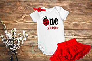 First Birthday Ladybug Bodysuit   Baby Girl Birthday Outfit