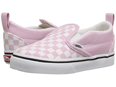 Vans Kids Slip-On V (Infant/Toddler) ((Checkerboard) Lilac Snow/True White) Girls Shoes