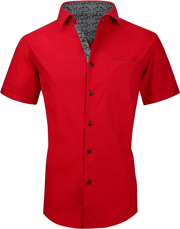 Esabel.C Mens Short Sleeve Dress Shirts Regular Fit Casual Button Down Shirts