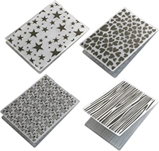 Migavan Embossing Folders 4 Assorted Patterns Embossing Folder Plastic Templates Molds Tools for DIY Craft Scrapbooking Photo Album Card Decoration Style A