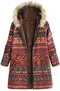 YOMXL Retro Bohemian Printed Puffer Jacket - Women Long Sleeve Down Coat with Fur Trim Hood Winter Warm Thicken Parka Outwear