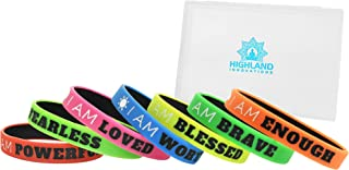 Motivational Silicone Wristbands with Inspirational and Positive Messages. I AM.14-Piece Premium Rubber Stretch Bracelet Set with Storage Case