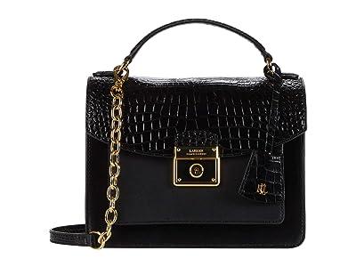 LAUREN Ralph Lauren Heritage Lock Croc Saffiano Beckett 23 Satchel Medium (Black) Handbags