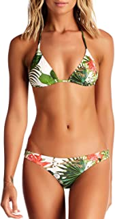 Blooming Jelly Women's Halter Neck Swimsuit Tie Back Triangle Bikini Set Leaf Printed Two Piece Swimwear Bathing Suit