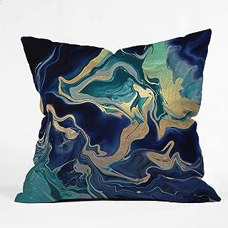 "Society6 Monika Strigel Dramaqueen - Gold Indigo Marble Throw Pillow, 20""x20"", Multi"
