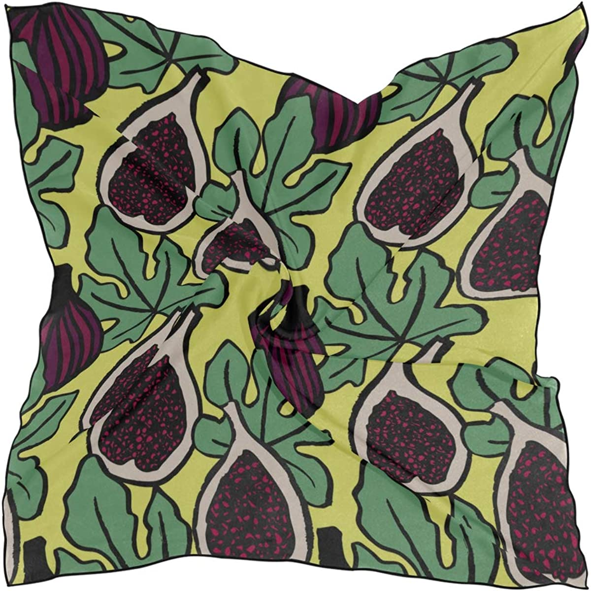 Women's Soft Polyester Silk Square Scarf Vintage Style Fruit Cute Fig Leaf Fashion Print Head Hair Scarf Neckerchief Scarves Accessory 23.6x23.6 Inch Multiple Ways Of Wearing Daily Decor