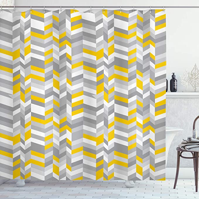 Ambesonne Grey And Yellow Shower Curtain Geometric Vintage 60s Home Pattern Inspired Herringbone Zig Zag Lines Cloth Fabric Bathroom Decor Set With Hooks 70 Long Grey Yellow Home Kitchen