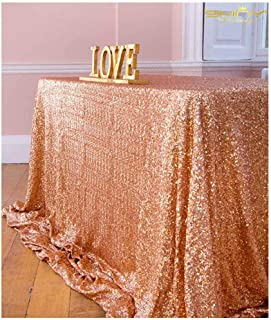ShinyBeauty 60inx102in Sequin Tablecloth-Rectanglar-Rose Gold-for Wedding/Christmas Party Linen (Rose Gold)