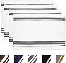 KIMODE 4 Pack Cotton Woven Placemats 13 in x 19 in, Everyday French Stripe Placemat for Dinner Parties, Machine Washable Kitchen Dining Place Mats for Indoor Outdoor Farmhouse Minimalist Home Decor