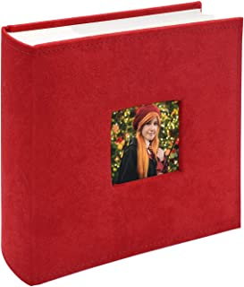 Golden State Art, Wedding Family Baby Holiday Photo Album Christmas, Vacation, Anniversary Photography book for 200 4x6 Pictures Pockets with Memo, 2 Per Page Large Capacity Red Fabric Cover