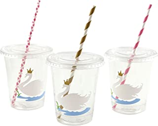 Swan Party Cups - Swan Princess Birthday Baby Shower Set of 12 with Lids Straws