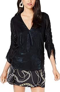 GUESS Women's Long Jewel Foil Chiffon Shirred Sleeve Top