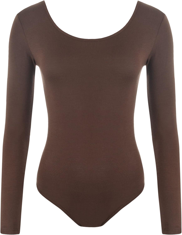 WearAll Women's Bodysuit Ladies Plus Size Leotard Top - Brown - US 16-18 (UK 20-22)