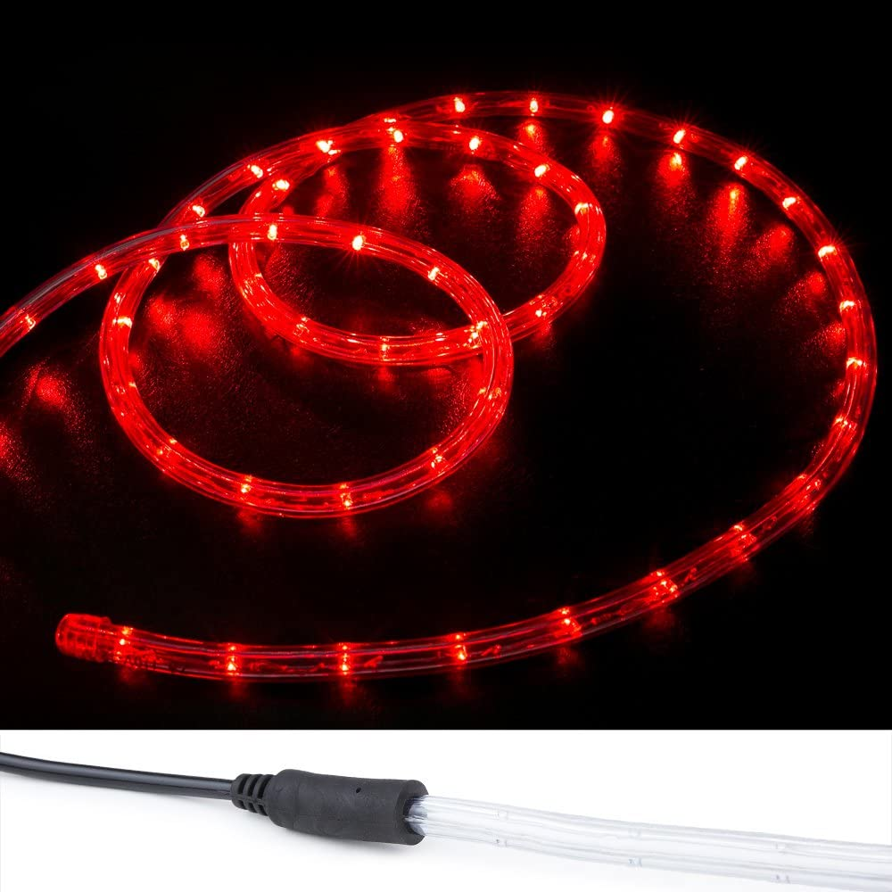 WYZworks Max 53% Sales for sale OFF 100 ft Red PRE-Assembled LED Wire Lights 2 Chris Rope -