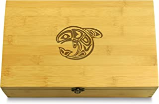 Cookbook People Orca Totem Native American Multikeep Box - Keepsake Bamboo Wood Adjustable Organizer