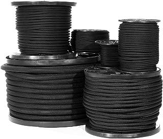 Diamond Weave Shock Cord (3/16 Inch, 50 Feet) - Black Elastic Bungee Cord Replacement