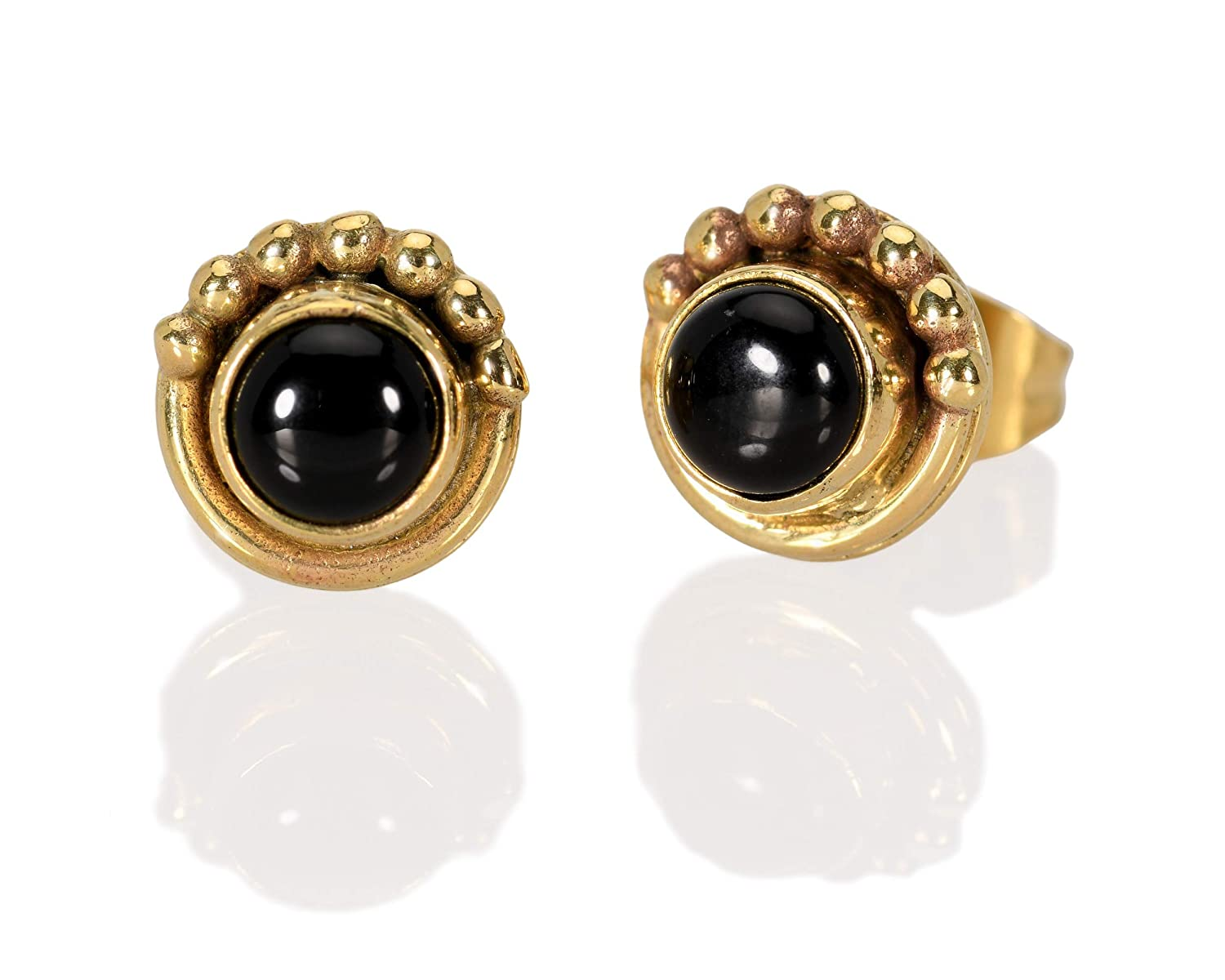 Oakland A surprise price is realized Mall Onyx Stud Earrings Brass Post Pair But of Round Small
