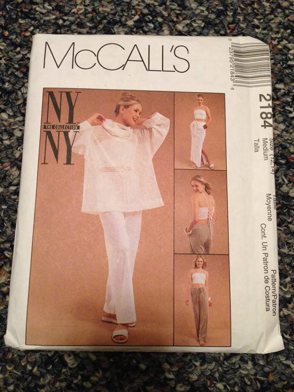 McCall's 2184 Sewing Pattern, Misses' Pullover Top, Halter Top, Pull-On Pants and Skirt, Size Medium (12,14)