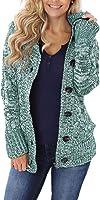 HIKARO Casual Standard Damen Strickjack Langarm Strickcardigan Strickmantel mit Kapuze Winter Warmer Pullover