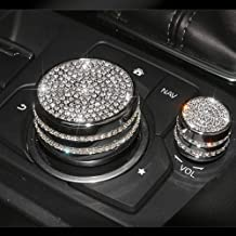TopDall Media Control Volume Knob Bling Crystal Shiny Accessory Interior Cover for Mazda