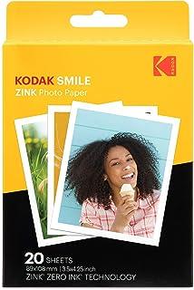 """Kodak Papel de impresión fotográfica Zink 35""""x425"""" (20 Hojas) Compatible con la cámara instantánea Kodak Smile Classic"""