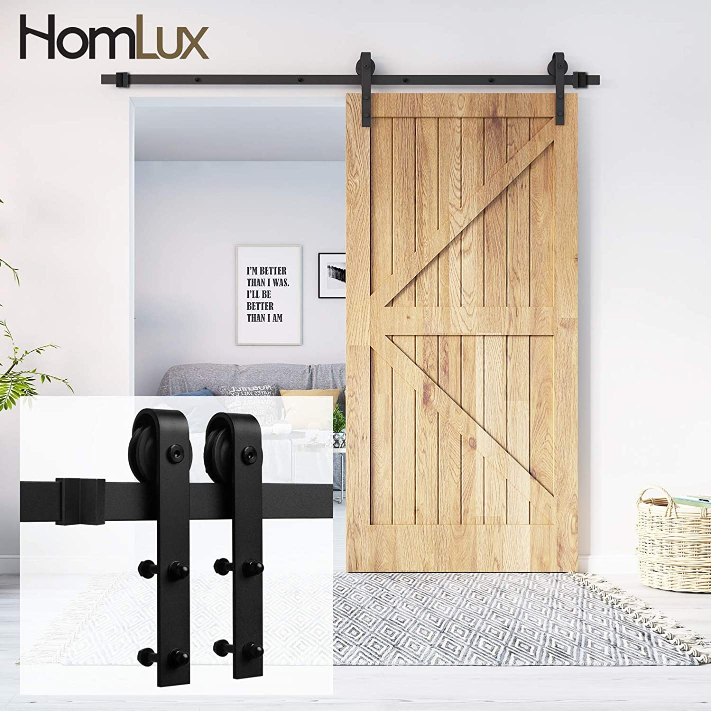 Homlux 6ft Heavy Duty Sturdy Sliding Barn Door Hardware Kit One Door - Smoothly and Quietly - Simple and Easy to Install - Fit 1 3/8-1 3/4