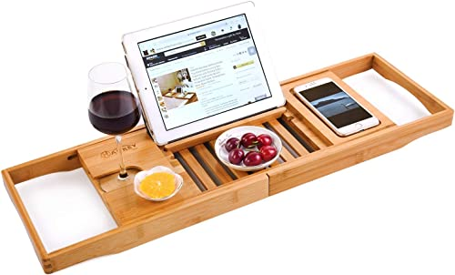 HANKEY Bamboo Bathtub Caddy Tray (Extendable) Luxury Spa Organizer with Folding Sides | Natural, Ecofriendly Wood | Integrated Tablet, Smartphone, Wine, Book Holders product image