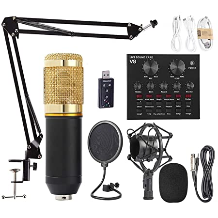 Condenser Microphone Live Sound Card SET Professional Cardioid Mic Bundle for Pc//Laptop Recording Studio,Voice Changer Device for PS4//Xbox//Phone//iPad,YouTube Podcast Vocal Broadcasting Gaming Golden