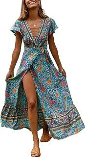 Elegantcharm Women's Bohemian Floral Print Wrap V Neck Split Beach Short Sleeve Maxi Long Dresses