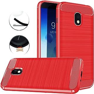 Dretal Compatiable with Galaxy J3 2018, J3 V 3rd Gen, Express Prime 3, J3 Orbit,J3 Star, J3 Achieve, Amp Prime 3 Case, Carbon Fiber Brushed Texture Soft TPU Protective Cover (Red)