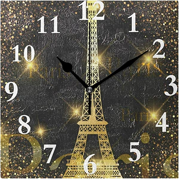 ZHOUSUN Personalized Customization Paris Gold Eiffel Tower Wall Clock For Home Office Kitchen Bedroom Living Room 7 87x7 87Inch