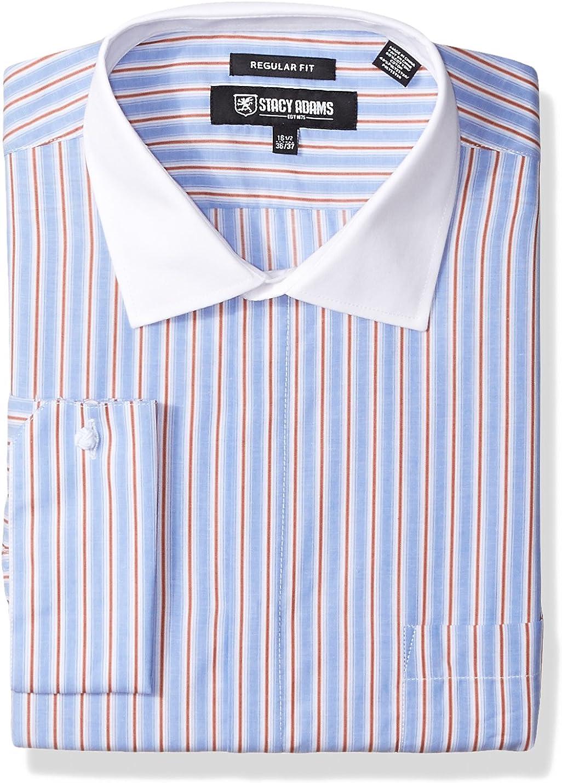 STACY ADAMS Men's Big and Tall Big & Tall End Stripe Classic Fit Dress Shirt