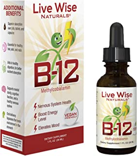 Vitamin B12 Liquid Drops; B 12 Sublingual Methylcobalamin 1000 mcg For Boosting Energy Naturally Through Instant Absorption and Optimal Health. Methyl Made in USA. 60 Servings