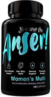 Anser Once Daily Women's Multivitamin by Tia Mowry with Full B-Complex Vitamins - Hair, Skin & Nail Support - Promotes Energy - Bone, Breast & Immune Support - Digestive Blend for Stomach Comfort