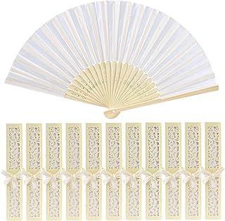 GWHOLE 12 Pcs Hand Fan Silk White Pocket Folding Hand Fan with Elegant Box for Wedding Gift Church, Holiday Season, Decora...