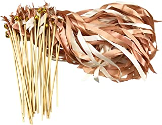 Cieovo 30 Pack Ribbon Fairy Wands Party Sticks Streamers with Bells Fairy Stick Wish Wands for Bridal Shower Birthday Favors Wedding-Waving Party (Champagne)