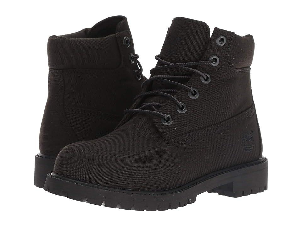 Timberland Kids 6 Premium Fabric Boot (Big Kid) (Black Canvas) Kids Shoes