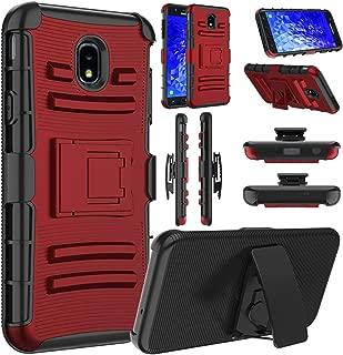 Galaxy J7 Case 2018, Galaxy J7 Crown, Galaxy J7 Star, Galaxy J7 Refine, J7 Aero / J7 V 2nd Gen / J7 Aura Case, Elegant Choise Holster Case with Kickstand and Belt Clip for Samsung J7 2018 (Red)