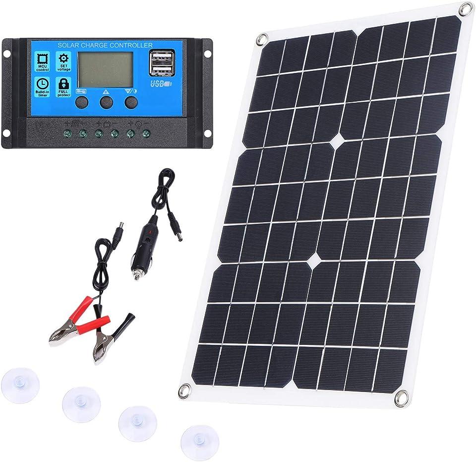 Haudang 100W Solarpanel 12V BatterieladegerrT Kit 50A Controller für Caravan Van Boat Dual USB